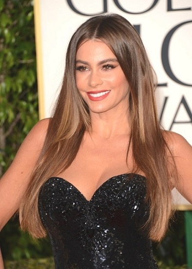 Sofia Vergara Long Straight Brown Hair with Middle Part