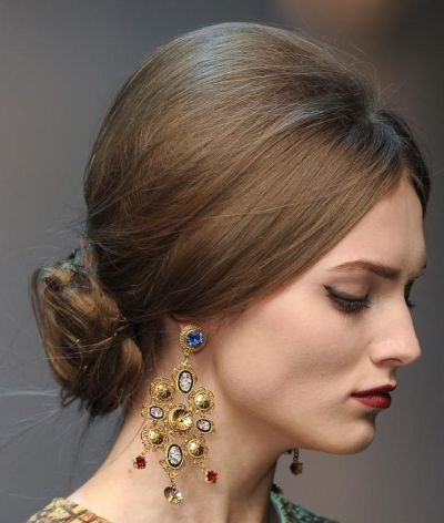 Classic Messy Chignon Hairdo Wedding Formal Fall