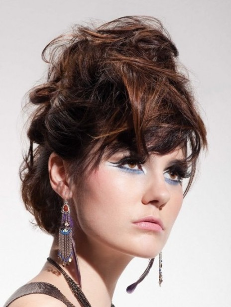 Brunette Edgy Updo Prom Wedding Party Formal Evening