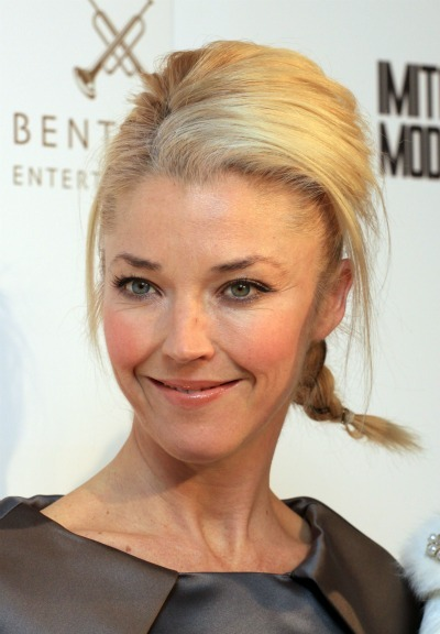 Tamara Beckwith Blonde Straight Medium Length Hair In Braided Hairdo