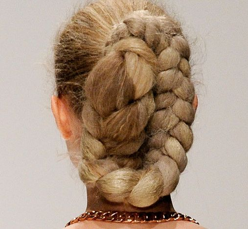 Thick Long Blonde Hair In Intricately Braided Large Bun