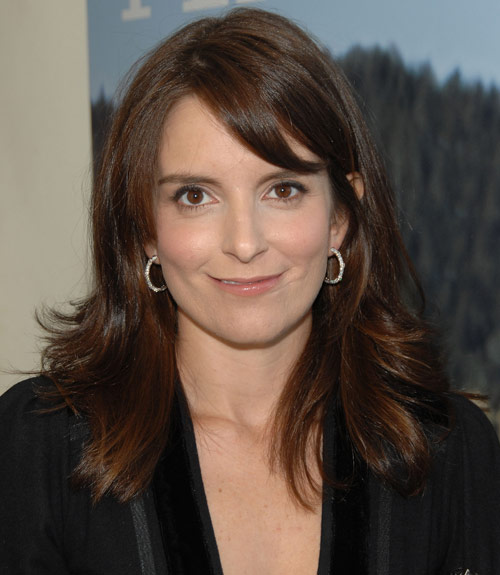 Tina Fey Dark Brown Hair With Casual Straight Sideswept Bangs