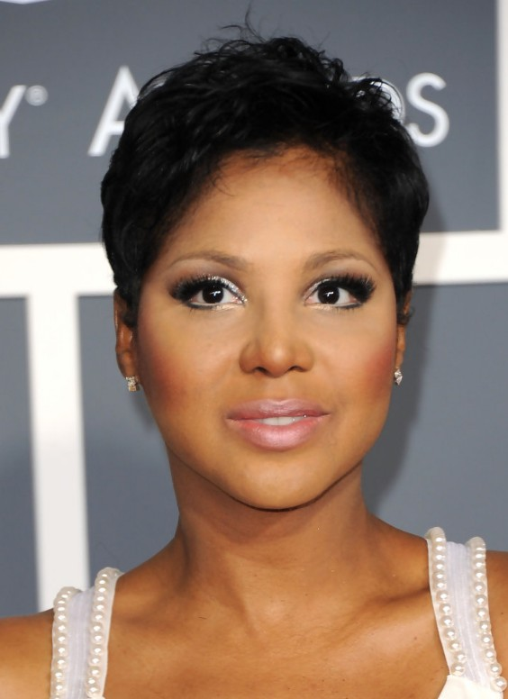 Toni Braxton's Black Hair In A Short Mature Pixie Hairstyle