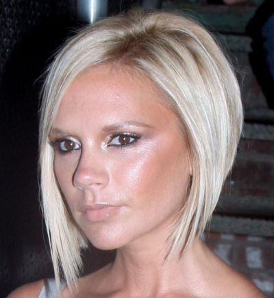 Victoria Beckham's Straight Blonde Hair In Long Wedge Hairstyle